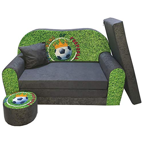 FORTISLINE Kindersofa Kindercouch Aufklappen Bettfunktion + Hocker W319 Viele Muster (King of Football)