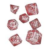 Q WORKSHOP Elvish Translucent & red RPG Ornamented Dice Set 7 Polyhedral Pieces -