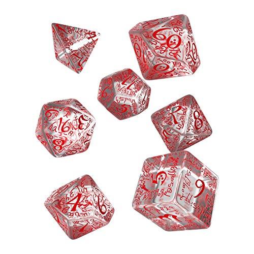 Dés de jeux transparent & rouge Elfiques