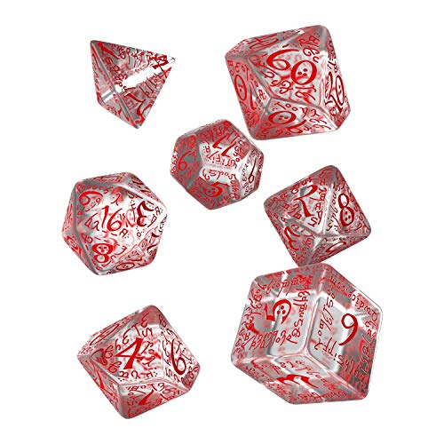 Q WORKSHOP Elvish Translucent & red RPG Ornamented Dice Set 7 Polyhedral Pieces