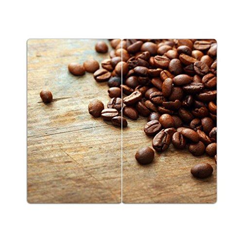 DEKOGLAS | Herdabdeckplatten aus Glas, inklusive Noppen | 2er-Set - 2 Stück 30x52 cm | Herdabdeckung, Schneidebrett, Spritzschutz | Kaffeebohnen