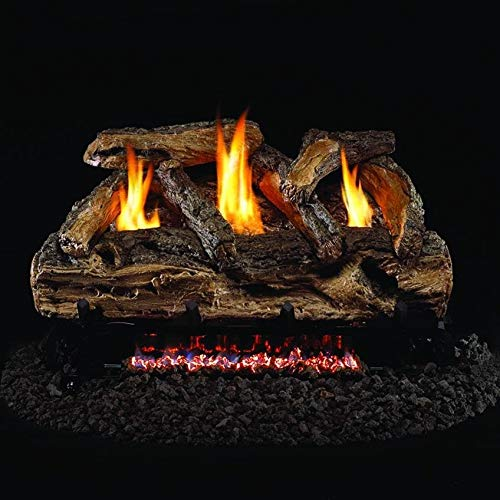 Peterson Real Fyre 20-inch Split Oak Log Set With Vent-free Propane Ansi Certified G9 Burner - Variable Flame Remote