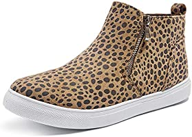 Adokoo Womens High Top Sneakers Fashion PU Leather Sneaker Ankle Booties