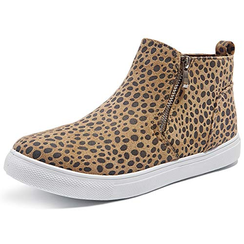Adokoo Womens High Top Sneakers Fashion PU Leather Sneaker Ankle Booties (US9, Leopard)