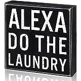 Letrero de Lavandería Decoración de Caja Clásica, Bloque de Madera de Alexa Do The Laundry, 6 x 6 x 1,8 Pulgadas