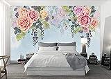 XHXI Papel pintado no tejido pintado a mano de la pintura al óleo de la flor rosada de la acuarela Mural del efecto 3D del papel Pintado de pared tapiz Decoración dormitorio Fotomural-350cm×256cm