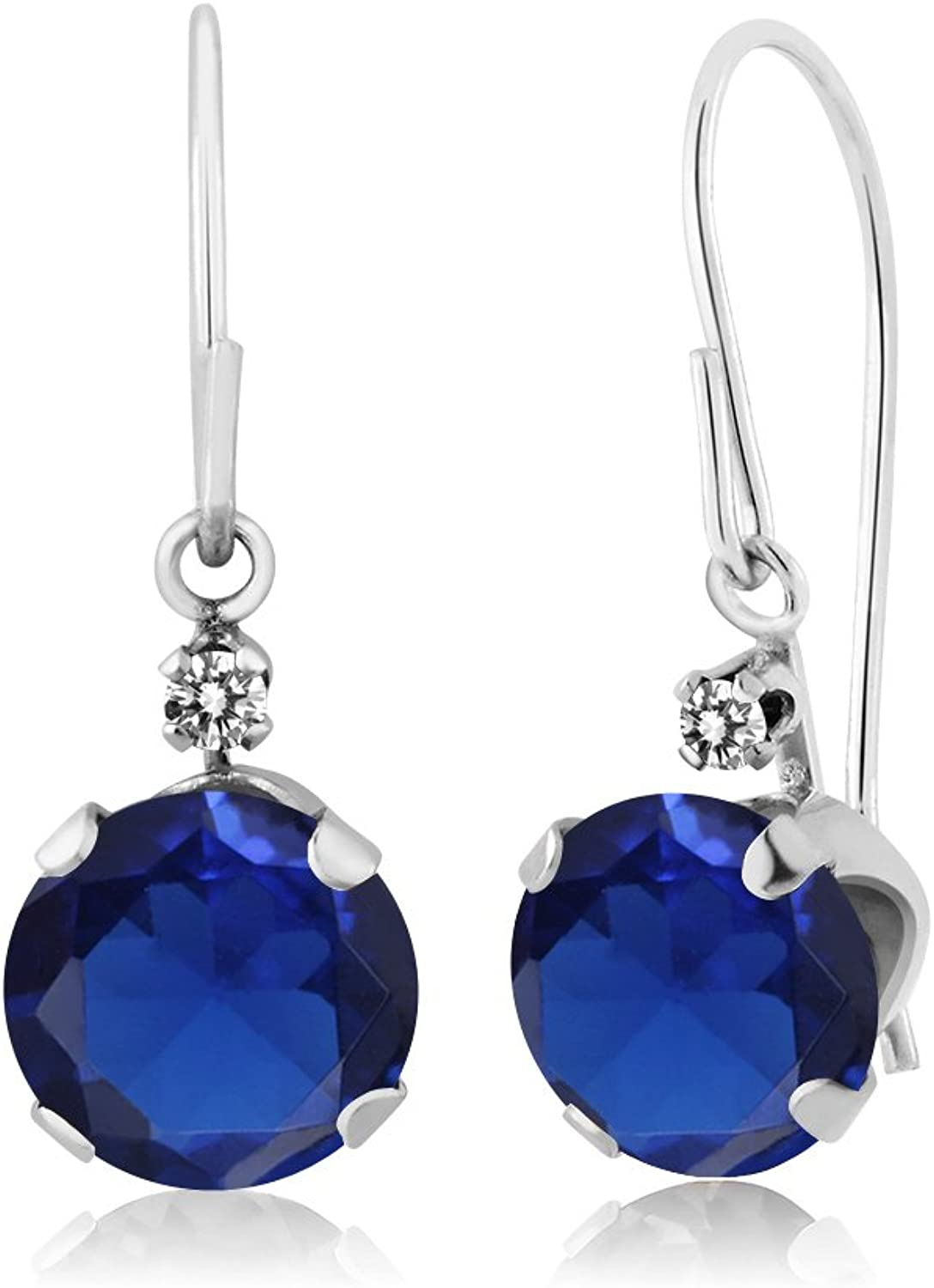 2.03 Ct Round bluee Simulated Sapphire White Diamond 14K White gold Earrings