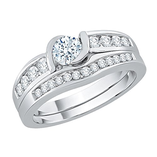 KATARINA Diamond Bridal Set in 14k White Gold (1/2 cttw, J-K, SI2-I1) (Size-4.5)