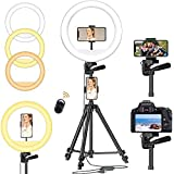 """Litelong 12"""" Selfie Ring Light with Adjustable Tripod Stand, 3 Mode 10 Brightness Level, Selfie Desk with Cell Phone Mount, Bluetooth Remote Control Shutter Compatible with Ipad, Iphone, Android-Black"""