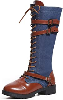 Creazrise Women's Denim Low Heel Lace up Mid-The-Knee High Riding Boots Martin Roman Shoes (Blue,8)