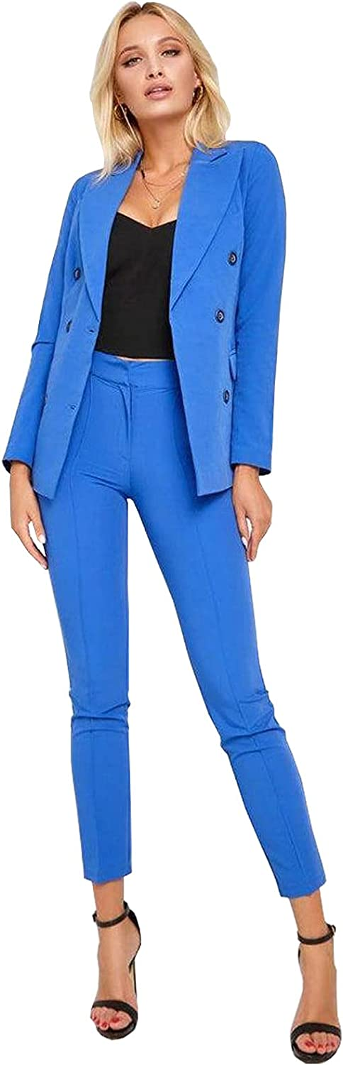 Women's 2 Piece Outfit Casual Double Breasted Blazer and Pencil Pant Suits Set