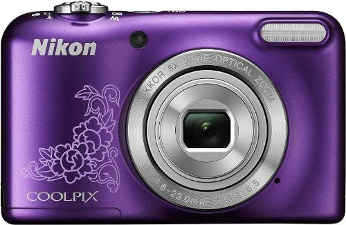 Nikon Coolpix L29 Digitalkamera (16 Megapixel, 5-fach opt. Weitwinkel-Zoom, 6,9 cm (2,7 Zoll) LCD-Display, HD) Kit inkl. 4GB Speicherkarte und Kameratasche violett