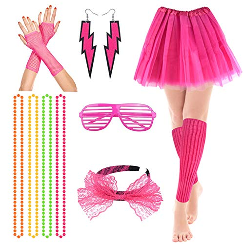 80s Fancy Party Costume Accessories Set,Adult Tutu Leg Warmers Fishnet Pink Gloves Neon Necklaces...