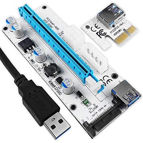 Silverbead PCIe Riser 1x zu 16x USB 3.0 | GPU PCI-E Riser Extender Board Kabel Cable Verlängerung |Adapterkarte Erweiterungskarte extern | 6-Pin / 4-Pin/SATA Power | Bitcoin Ethereum Crypto Mining