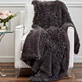 The Connecticut Home Company Soft Shag with Sherpa Bed Throw Blanket, Many Colors, Fluffy Large Luxury Reversible Blankets, Fuzzy Washable Throws for Couch, Beds, Home Bedroom Decor, 65x50, Gray