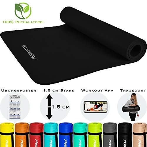 MSPORTS Gymnastikmatte Premium inkl. Tragegurt + Übungsposter + Workout App I Hautfreundliche Fitnessmatte 190 x 100 x 1,5 cm - Schwarz-Matt - Phthalatfreie Yogamatte