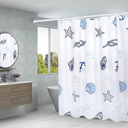 Aistuo Duschvorhang 180 x 200 Transparent,PEVA Wasserdicht, Halb-transparent Klar, Anti Schimmel, PVC-frei Umweltfre&lich Waschbar mit 12 Ringe (Schale)
