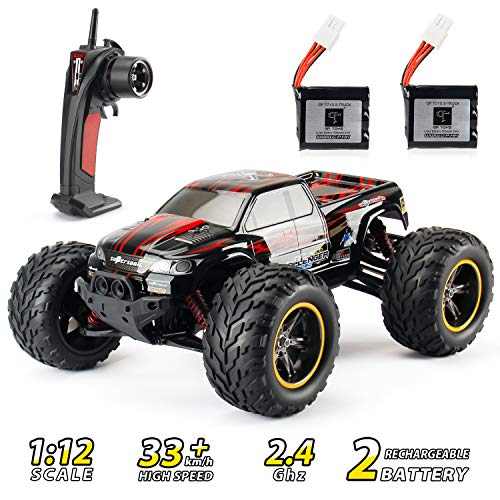 RC Car, Theefun 2.4 GHz High Speed Remote Control Car, 1:12 Scale Electric Toy Car for Kids and Adults, Off Road Monster RC Crawler with Two Rechargeable Batteries