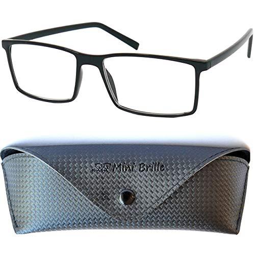 Klassische Rechteckige Nerd Lesebrille mit großen Gläsern - mit GRATIS Brillenetui und Brillenputztuch, TR90 Kunststoff Rahmen (Schwarz), Lesehilfe Herren und Damen +2.0 Dioptrien