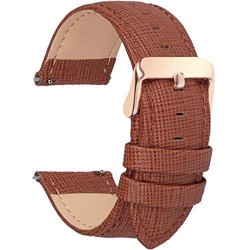Fullmosa 14mm,16mm,18mm, 20mm, 22mm, 24mm Bracelet de Montre en Cuir véritable, Cross Montre Bracelet Homme/Femme à Dégagement Rapide,16mm Brun