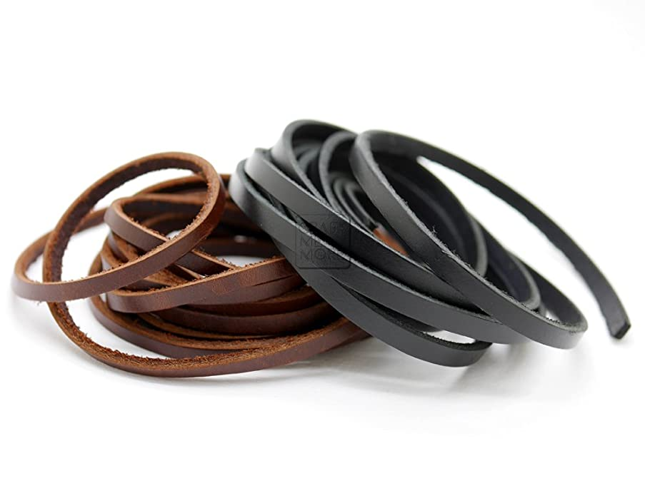 CRAFTMEmore 2 Meters Multi-Size Genuine Leather Strap Quality Flat Leather Strip Lacing Shoe String DIY Bracelet Jewelry Making (Black, 4mm (0.16