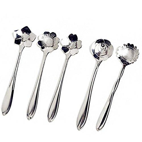 cosanter 5piezas acero inoxidable cuchara de café para lavavajillas té Cuchara con diferentes tipos de flores.
