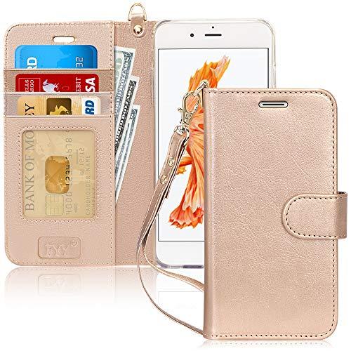 FYY Coque iPhone 6S Plus, Coque iPhone 6 Plus, [Or Luxueux] Étui en Cuir de première qualité avec Coverture Toute-Puissante pour iPhone 6S Plus/6 Plus Or