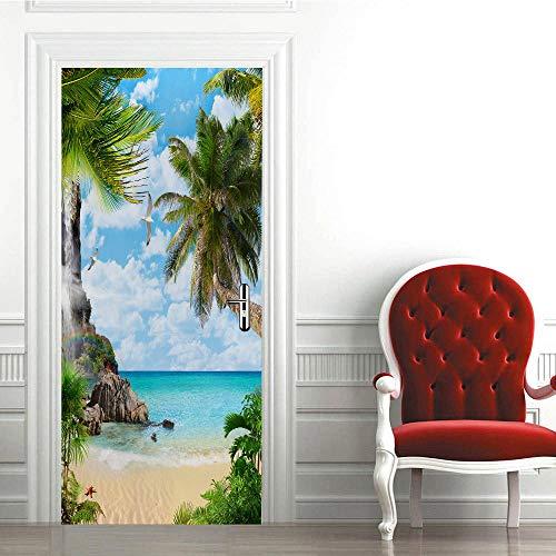 Adhesivo decorativo para puerta en 3D de arte moderno, 88 x 200 cm, vinilo extraíble para puertas interiores, dormitorio, sala de estar, baño, decoración del hogar, mar, árboles de coco