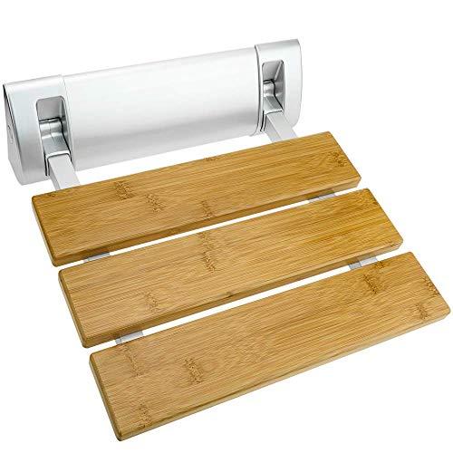 PrimeMatik - Asiento de Ducha abatible. Silla Plegable para Ancianos de Madera bambú y Aluminio 320x328mm