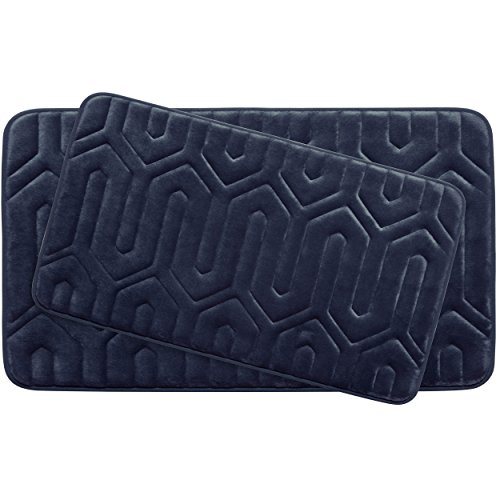 Bounce Comfort Extra Thick Memory Foam Bath Mat Set - Thea Premium Plush 2 Piece Set with BounceComfort Technology, 20 x 32 in. Indigo