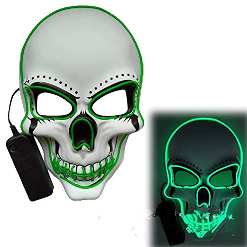 ACHICOO LED Halloween Scary Glow Skeleton Maske Cosplay Party Kostümzubehör Grün