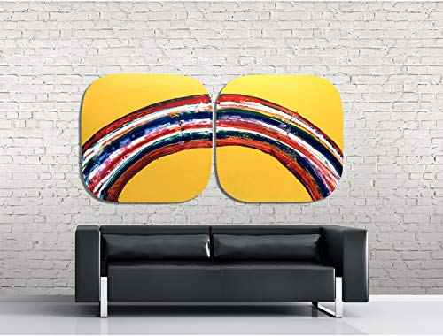Cuadro DUO arco iris energia abstracta decoracion interiorismo hotel hogar oficina 2 x 90x90cm