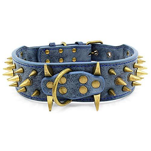 Stylish Leather Sharp Spiked Studded Dog Collar (Blue L)- Fit Medium & Large Dogs