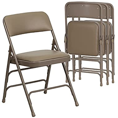 Flash Furniture 4 Pk. HERCULES Series Curved Triple Braced & Double Hinged Beige Vinyl Fabric Metal Folding Chair