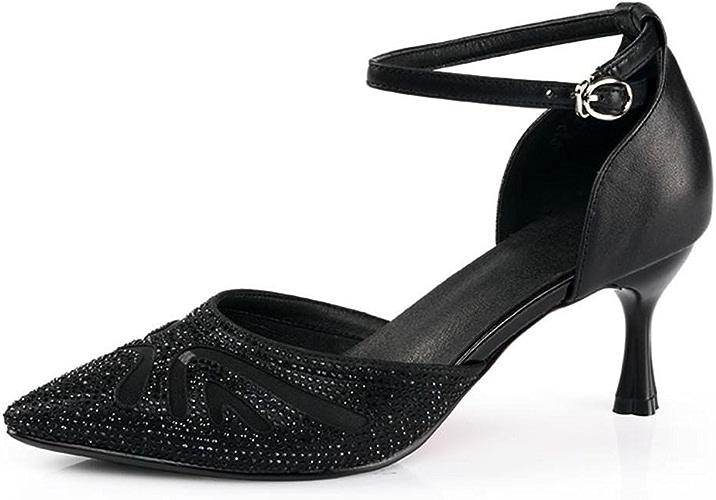BYLE Sangle de Cheville Sandales en Cuir Chaussures de Danse Modern'Jazz Samba Chaussures de Danse Latine Fond Mou des Femmes Adultes, High-Heeled Sandals noir