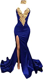 Women's Gold Appliques Mermaid Prom Dresses Long Split Evening Gowns