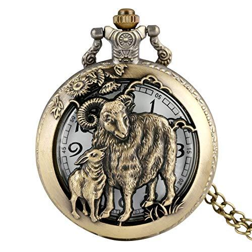 ZHAOXIANGXIANG Taschenuhr,Retro Bronze Chinese Zodiac Ziege Taschenuhr Anhänger Tieruhr Hohl Halskette Kette Kunst Sammlerstücke Geschenke Gedenkgeschenk