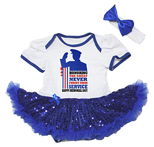 Petitebelle Honoring Happy Memorial Day Body Blanc Tutu Robe de bébé Nb-18m - Bleu - S
