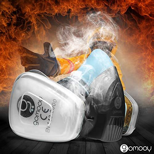 GOMOOY Maschera Antigas Doppio Filtro   NUOVO DESIGN 6 FILTRI RICAMBIO INCLUSI   Antipolvere Protezione Lavoro Prodotti Chimici Polveri Verniciatura Vapori Tossici  