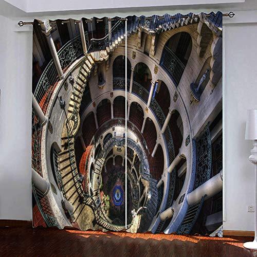 JFAFJ Cortinas de Salon Escalera para Ventana Habitación con Aislamiento Térmico Anti Ruido Infantiles Tamaño:2x75x166cm(An x Al)