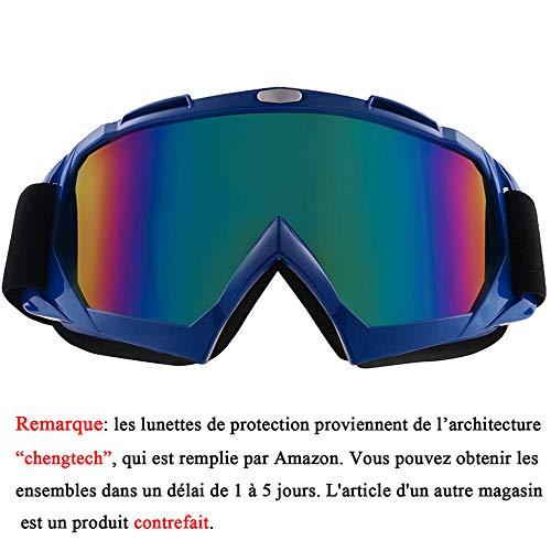 Sijueam Lunettes de Protection de Yeux Visage Masque Anti-UV Coupe-Vent Anti-poussière pour Activités Extérieures vélo Moto Cross VTT Ski Cyclisme Goggles - Cadre Bleu, lentille de Couleur