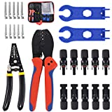 Keadic Solar Crimping Tools, Wire Stripper, 5 Pairs of Male/Female Solar Panel Cable Connectors, 2pcs Solar Connector Spanner Tool Kit for 2.5/4.0/6.0mm² MC3 MC4 Solar Panel PV Cable