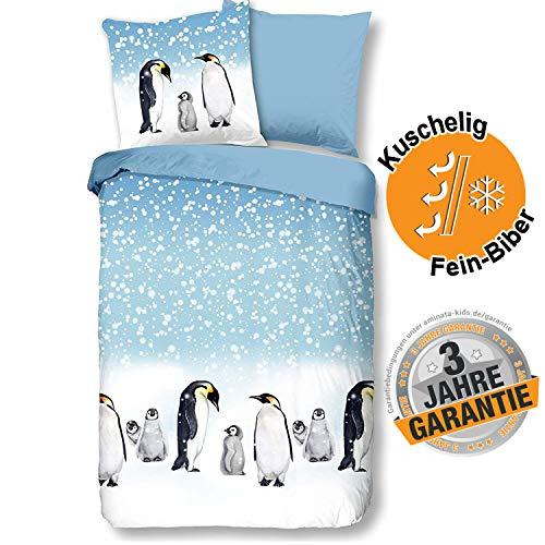 Aminata kids Premium Biber-Bettwäsche-Set 135x200 Wintermotiv + 80x80 Kopfkissen aus Baumwolle mit Reißverschluss, Kinderbettwäsche mit Pinguin ist warm, weich & kuschelig, Winterlandschaft
