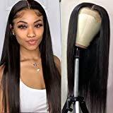 Lace Front Wigs Human Hair Straight Lace 4x4 Closure Wigs for Black Women, 150% Density Brazilian Virgin Human Hair Wigs Pre Plucked with Baby Hair Natural Color (22 Inch)