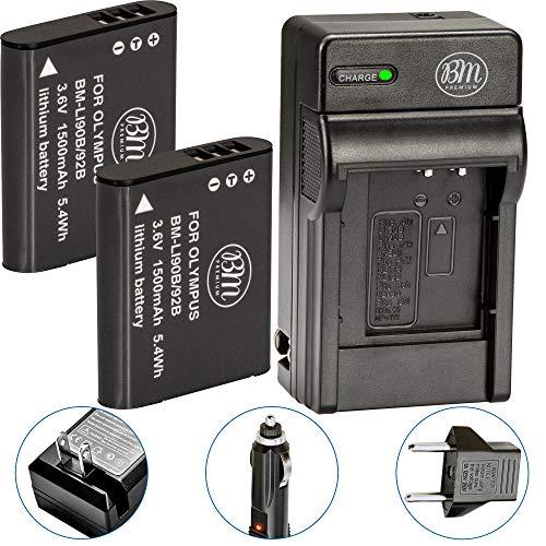 BM 2 LI-90B, LI-92B Batteries and Charger for Olympus Tough TG-6, TG-5, TG-Tracker, SH-1, SH-2, SP-100 IHS, Tough TG-1 iHS, Tough TG-2 iHS, Tough TG-3, Tough TG-4, SH50 iHS, SH60, XZ-2 iHS Cameras