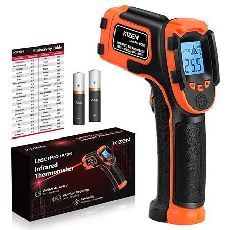 KIZEN Infrared Thermometer Gun (NOT for Humans) - LaserPro LP300 Non-Contact Temperature Gun for Cooking, Home Repairs & Maintenance, -58Deg F to 1112Deg F (-50 Deg C to 600 Deg C)