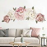 Etiqueta de la pared 3D Rose del Peony de las flores de la planta, DIY Moderno Vinilo casa impresiones, por Corredor sitio de la muchacha de la cocina se reúnen y decoración del fondo del sofá 40x60cm