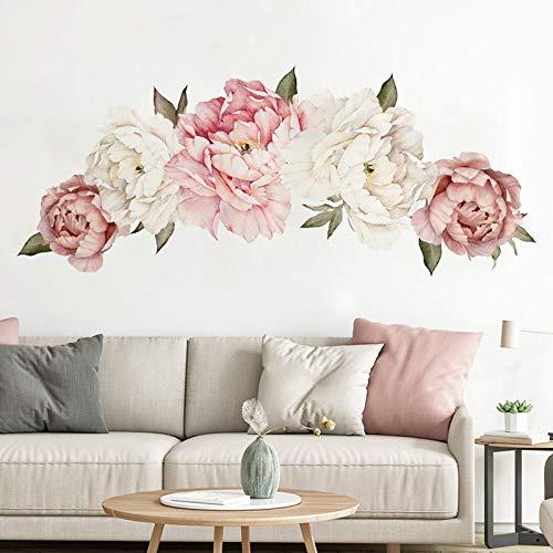 Etiqueta de la pared 3D Rose del Peony de las flores de...