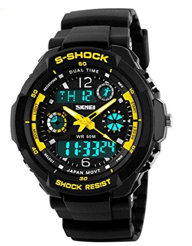SKMEI Impermeabile multifunzione digitale resistere agli urti orologio sportivo militare, giallo