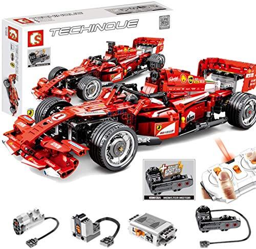 PEXL Technik Formel 1 Rennwagen Bausteine Bausatz für Ferrari F1 Auto, Technic Rennauto Modell Bauset mit Fernbedienung und Motoren, 580 Klemmbausteine Kompatibel mit Lego Technik